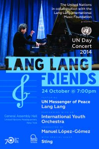 """""""Lang Lang & Friends"""": the official poster for the UN Day Concert 2014 (credit: United Nations)."""