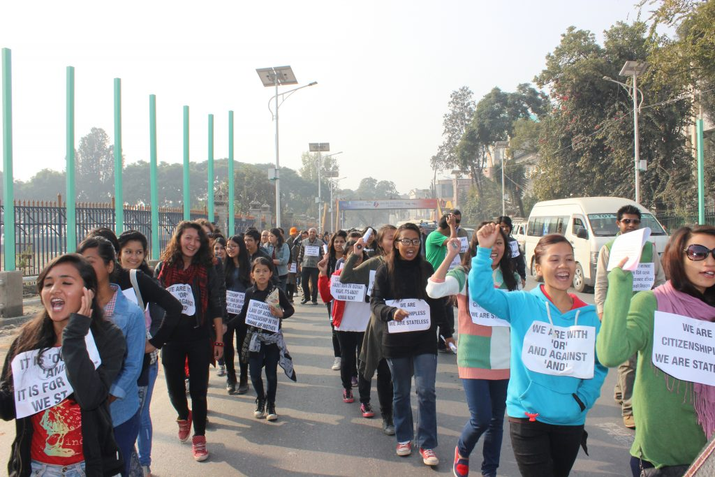 "In Katmandu, women protesters voice their opposition to ""and"" and march in favor of ""or"" (Credit: Forum for Women Law and Development, http://www.fwld.org/)."
